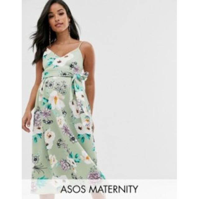エイソス レディース ワンピース トップス ASOS DESIGN Maternity sweetheart neck cami midi prom dress in floral Floral
