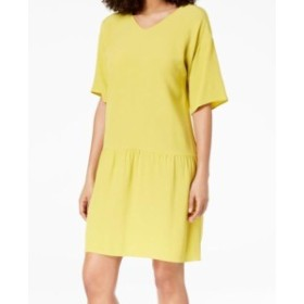 Eileen Fisher アイリーンフィッシャー ファッション ドレス Eileen Fisher NEW Yellow Womens Size Medium M Gathered Shift Dress