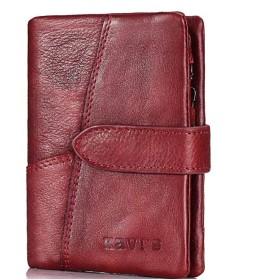 諸葛·チューコー ファッショナブルなヨーロッパとアメリカのバージョンのショートジッパーバックル小財布レディース財布 (Color : Red)