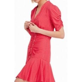 Free People フリーピープル ファッション ドレス Free People Womens Dress Red Size XS Shirt Polkadot Print Ruffled