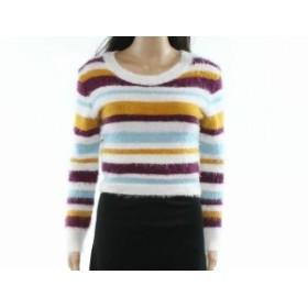 ファッション トップス Love Tree Womens White Size Medium M Striped Fuzzy Pullover Sweater