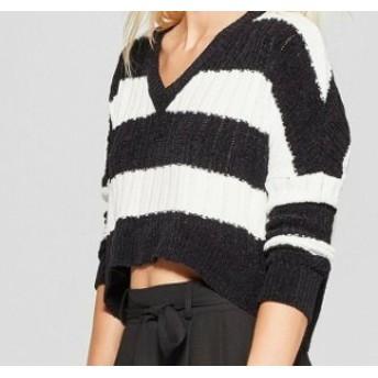 ファッション トップス Living Doll NEW Black Size Large L Junior Striped Crop Knitted Sweater