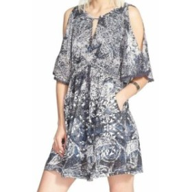 Free People フリーピープル ファッション ドレス Free People Womens Dress Blue Size Small S Shift Cold-Shoulder Printed