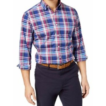 Plaid  ファッション アウター Club Room NEW Blue Red Mens Size 2XL Button Down Classic Fit Plaid Shirt