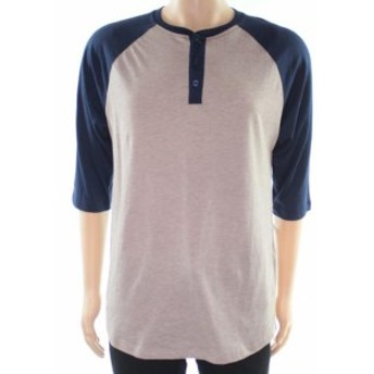 ファッション アウター Birch & Black Mens Beige Blue Size Medium M Raglan Striped Henley Shirt #646