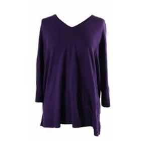 Scott  ファッション トップス Karen Scott Plus Size Purple V-Neck Sweater 0X