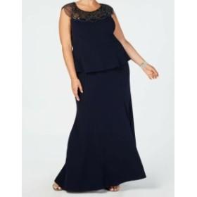 ファッション ドレス Xscape NEW Blue Navy Womens Size 16W Plus Gown Beaded Peplum Dress