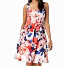 ファッション ドレス Pappagallo Womens Dress Pink Size 14 A-Line Floral Print Square Neck