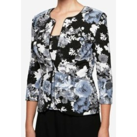 Alex Evenings アレックスイブニングス ファッション 衣類 Alex Evenings NEW Black Womens Small S Floral-Print Glitter Jacket Set