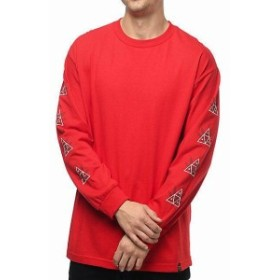 huf ハフ ファッション トップス HUF 420 Triple Triangle Red Long Sleeve T-Shirt Skater Fashion Tee Red Top Men