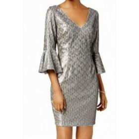 Adrianna Papell アドリアーナ パペル ファッション ドレス Adrianna Papell NEW Silver Women 10P Petite Bell Sleeve Sheath Dress