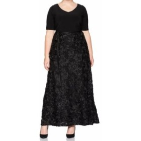 Alex Evenings アレックスイブニングス ファッション ドレス Alex Evenings NEW Black Womens Size 14W Plus Rosette Gown Dress