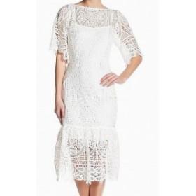 Eva by Eva Franco  ファッション ドレス Eva By Eva Franco NEW White Womens Size 6 Peplum Crochet Shift Dress