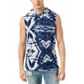 American  ファッション アウター American Rag NEW Blue Mens Size XL Tie Dye Hooded Muscle Tank Shirt
