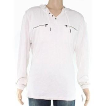 ファッション トップス INC Mens White Ivory Size XL Dual Zipper-Pocket Pullover Hooded Sweater