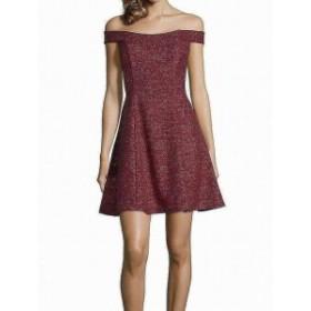 Betsy & Adam ベッツィアンドアダム ファッション ドレス Betsy & Adam NEW Red Womens Size 14 Off Shoulder Glitter Sheath Dress