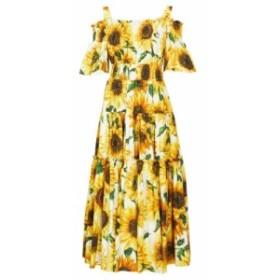 ドルチェandガッバーナ Dolce and Gabbana レディース パーティードレス ティアードドレス sunflower-print tiered cotton-poplin midi d