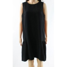 Shift  ファッション ドレス Halogen NEW Black Womens Size Medium M Crewneck Flounce Shift Dress
