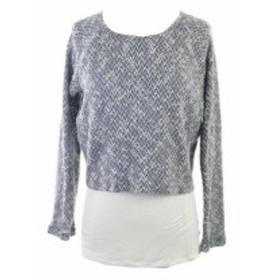 ファッション トップス Inc International Concepts New Blue Textured Layered Sweater L
