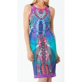 Hale Bob ヘイルボブ ファッション ドレス Hale Bob NEW Blue Printed Finualla Womens Size XS Fitted Sheath Dress