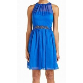 Adrianna Papell アドリアーナ パペル ファッション ドレス Adrianna Papell NEW Blue Womens Size 16 Embellished Sheath Dress