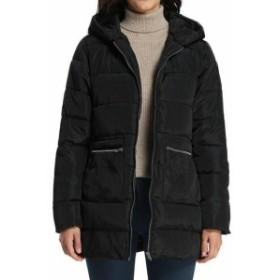 ファッション 衣類 iLoveSIA NEW Black Womens Size 8 Zip-Pocket Quilted Down Hooded Jacket