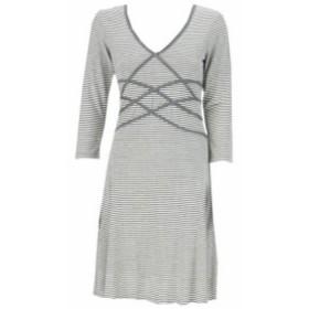 ファッション ドレス Studio M New Grey 3/4-Sleeve Striped V-Neck Stretch Dress L