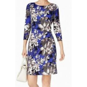ファッション ドレス B-Slim NEW Blue Womens Size XL Floral Print Side-Ruched Sheath Dress