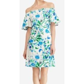 American  ファッション ドレス American Living Womens White Size 12 Floral Ruffle Sleeve Shift Dress