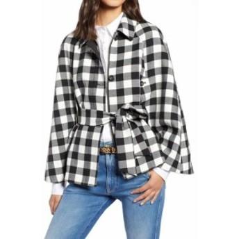 1901 ワンナインオーワン ファッション 衣類 1901 NORDSTROM NEW Black White Checked Large PL Petite Cape Jacket