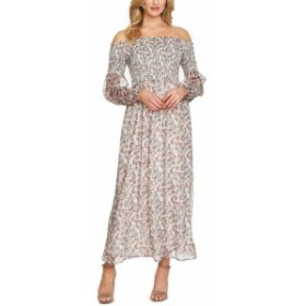 CeCe  ファッション ドレス Cece Womens Maxi Dress White Size Large L Smocked Off Shoulder Floral
