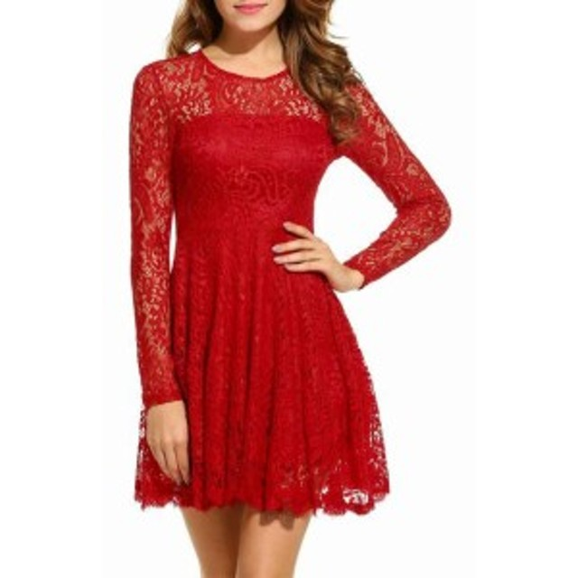 Red  ファッション ドレス ANGVNS Womens Dress Red Size Small S A-Line Floral Lace Knit Swing