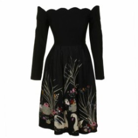 ファッション ドレス Belle poque Black Off-the-shoulder Smocks Back Floral Hem A-Line Dress M