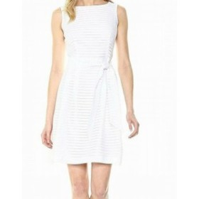 Anne Klein アンクライン ファッション ドレス Anne Klein Womens White Size 8 Striped Belted Pleated Sheath Dress