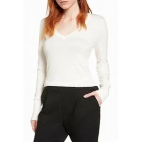 ファッション トップス Halogen NEW White Ivory Womens Size XL Pullover Knit V-Neck Sweater