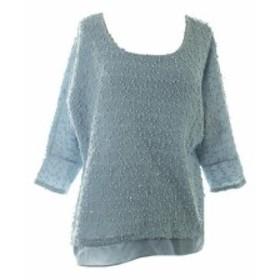 Alfani  ファッション 衣類 Alfani New Blue Textured Sequin Layered-Look Sweater S