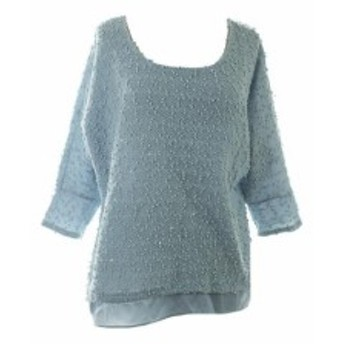 Alfani  ファッション 衣類 Alfani New Blue Textured Sequin Layered-Look Sweater S