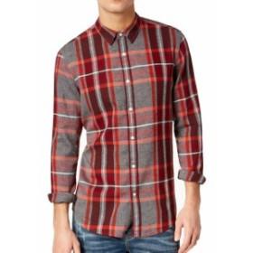 American  ファッション アウター American Rag NEW Red Gray Mens Size Medium M Plaid Button Down Shirt