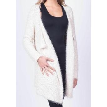 ファッション トップス RD Style Womens White Size Small S Textured Open Cardigan Sweater