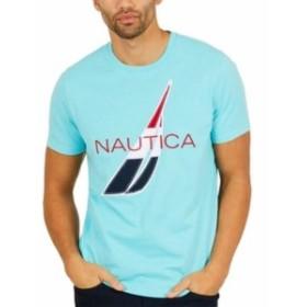 bliss ブリス ファッション トップス Nautica Bliss Blue Mens Size Large L Crew Logo Graphic-Print T-Shirt
