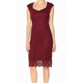 Red  ファッション ドレス TIANA B. Womens Dress Red Size 8 Sheath Sequin Floral Lace Sweetheart