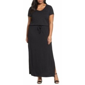 Maxi  ファッション ドレス Caslon NEW Black Womens Size 2X Plus Drawstring V Neck Maxi Dress