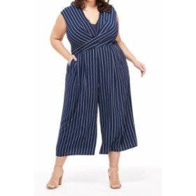 Maggy London マギーロンドン ファッション ジャンプスーツ Maggy London Womens Blue Size 16W Plus Striped Wide Leg Jumpsuit