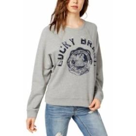 HEATHER  ファッション トップス Lucky Brand NEW Heather Gray Womens Size Small S Varsity Sweatshirt