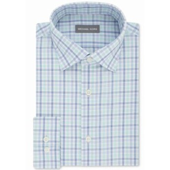 Michael Kors マイケルコルス ファッション ドレス Michael Kors NEW Blue Mens Size 15 1/2 Regular Fit Plaid Dress Shirt