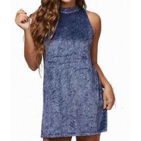 Peach  ファッション ドレス Peach Love NEW Blue Size Medium M Junior Velour Mock Neck Shift Dress