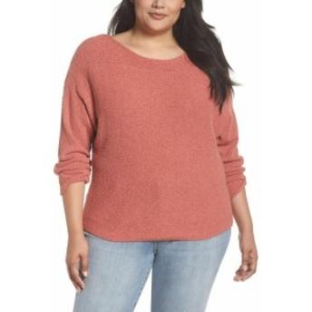 ファッション トップス Caslon Womens Pink Size 3X Plus Horizontal Pullover Knit Sweater