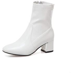 [Aimint] ブーツ新規スクエアヒールポインテッドトゥウィメンズ EZR00865 ホワイト - 22cm
