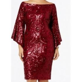 bell ベル ファッション ドレス Betsy Adam NEW Red Womens Size 14W Plus Bell Sequin Sheath Dress