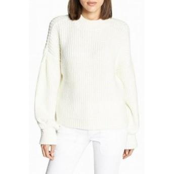 Sanctuary サンクチュアリ ファッション トップス Sanctuary Womens Balloon Sleeve Knit White Small S Crewneck Sweater
